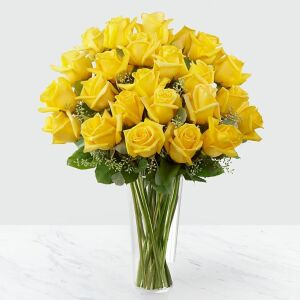 24 Yellow Roses in Vase